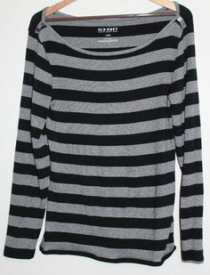$16.95 Women's Old Navy Black & Gray Stripe Boat Neck Long Sleeve Top Shirt Size: Large #OldNavy #KnitTop #Casual #FreeShipping