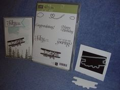 Stampin Up Sky is the Limit Rubber stamp set & Dies by Dave Airplane die Dies By Dave, Masculine Birthday Cards, Stampin Up Cards, Airplane, Sky, Plane, Heaven, Aircraft, Airplanes