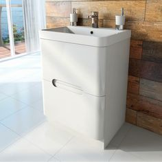 Planet Select White Floor Mounted 600 Drawer Unit & Basin