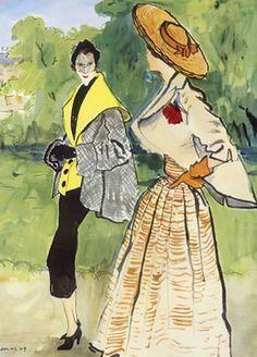 Fashion Illustration by Bernard Blossac, 1949, Christian Dior & Jacques Fath.