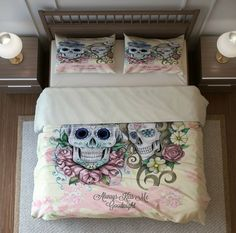 Sugar Skull Bedding Duvet Cover and Sham Set -Always Kiss Me Goodnight The last photo is our bed, my dog Duke says this is awesome fabric and very comfortable to nap on. It is one of my favorite designs and we get a lot of comments from guest on how beautiful and unique it is. Your duvet cover set will be brand new, made just for you, no dogs will have napped on it before it arrives, and it will ship directly from our manufacturer and no animals will have been around in the making. Twin…
