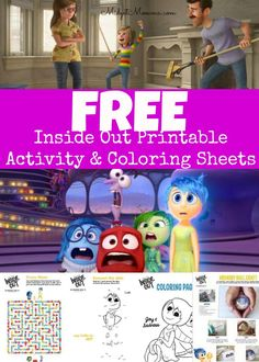 FREE Inside Out Movie Printable activity sheets, coloring pages and crafts! So much fun for the kids!