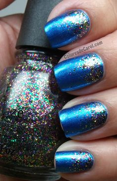 China Glaze Blue Bells Ring and Glitter All The Way gradient