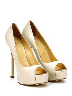 ICONE - Decolletè - Women - Decolletè open toe in vernice con suola in cuoio. Tacco 135, platform 35 con battuta 100. - SABBIA - € 198.00