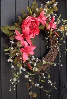 SALE was 80.00 Spring Wreath Summer Wreath by AnExtraordinaryGift