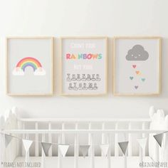 This Printable Sky Nursery Art Set would make a cute baby shower gift! Comes in Includes Sun Cloud & Rainbow. from Everblue Press Rainbow Nursery Decor, Baby Nursery Themes, Rainbow Room, Baby Girl Nursery Decor, Rainbow Baby, Nursery Ideas, Ladybug Nursery, Sky Nursery, Themed Nursery