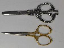 sewing scissors antique sterling silver gold blunt nose 2 pr antique original