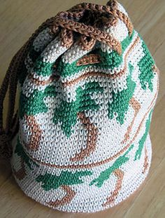 Florida Tapestry Bag -- This drawstring bag is one pattern I never published; it's still written in pencil on a legal pad. I'll get around to writing it up eventually.