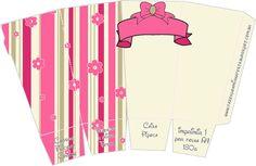 Cajitas imprimibles de flores y rayas rosa.