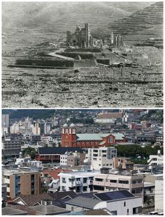 The Urakami Cathedral in Nagasaki, which was obliterated on 9 August. The replacement was built in Photograph: Shigeo Hayashi/Nagasaki Atomic Bomb Museum/Reuters/Issei Kato Nagasaki, Atomic Bomb Explosion, Atomic Bomb Hiroshima, Hiroshima Bombing, Historia Universal, Pearl Harbor, Beautiful Architecture, Then And Now, Military Aircraft