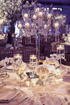 Modern Crystal Candelabrum with Candles | Studio AvantGarda.