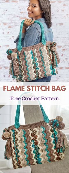 """This crocheted bag features a chevron or """"flame"""" pattern that is playful while having a sophisticated look. The optional pompoms and tassels give it a boho, on-trend vibe. #freecrochetpattern #freecrochet #crochet3 #easycrochet #patterncrochet #crochettricks #crochetitems #crocheton #thingstocrochet"""