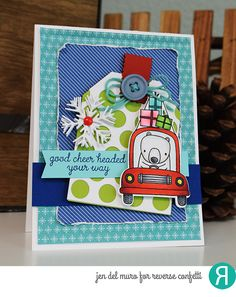 Card by Jen del Muro. Reverse Confetti stamp set: Bearing Gifts. Confetti Cuts: Bearing Gifts, Dots Tag Layer, Topped Off Tag, Snowflake Trio, and Hang Ups, Too. RC 6x6 paper pad: Warm Heart. RC Cardstock: Navy, Iced Aqua and Lime Green.