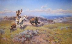 'Fighting Meat' by Charles Marion Russell.  Click on image to ENLARGE.