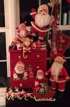 Estate sale Santa collection in my red doll dresser. 1980s Christmas, Christmas Booth, Christmas Past, Christmas Holidays, Christmas Displays, Father Christmas, Christmas Ideas, Christmas Figurines, Vintage Christmas Ornaments