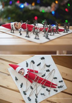 Elf tied down by Army Men