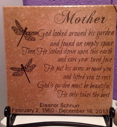 Personalized Mother Memorial Tile by SimplySaidVinylGifts on Etsy, $20.00