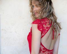 Rote Brautjungfer glamourösen Maxi Kleid mit einer von Michalfilmar
