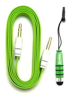 Emartbuy® Kool Vi8 / Vi8 Pro 8 Inch Tablet PC Aux Pack - Green Metallic Mini Stylus + Green Flat Anti-Tangle Auxillary Stereo Cable 3.5mm Connector