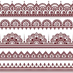 Mehndi, Indian Henna tattoo seamless pattern, design elements by RedKoala great for a border stencil on painted subfloor Henna Tattoo Designs, Mehndi Designs, Henna Designs Drawing, Indian Henna Designs, Henna Drawings, Henna Designs White, Ankle Henna Designs, Henna Designs On Paper, Traditional Henna Designs