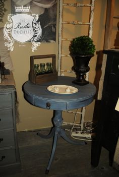Drum table done in #MaisonBlanchePaint Wrought Iron and Confederate Grey with #WhiteLimeWax.  #Painting #Furniture #ChalkPaint #ShabbyChic