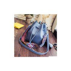 Woman PU Rainbow Strap Shoulder Bag Tassel Tote Bag Crossbody Bag (€19) ❤ liked on Polyvore featuring bags, handbags, shoulder bags, blue, blue backpack, crossbody handbags, blue tote bag, print backpacks and backpack purse