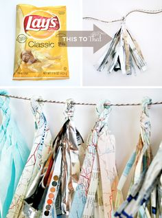 Map/tissue paper/or Potato Chip Bag Recycled into Party Decor
