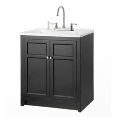 Foremost Conyer 30 in. Laundry Vanity in Black and Premium Acrylic Sink and Faucet Kit-COBA3021 - The Home Depot