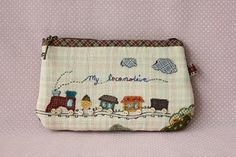 https://flic.kr/p/9zP4ZQ | Handmade zakka style Le locomotive pouch | Blogged !   to view the back of the pouch,  sewing illustration