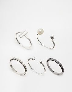 ASOS Open Bar and Ball Mix Ring Pack