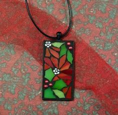 Stained glass jewelry mosaic jewelry pendant by ShellyHeissDesigns