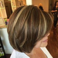 brown bob with blonde balayage highlights