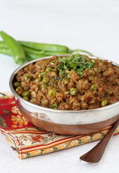 Keema Matar - mincemeat green peas curry is a spiced North Indian style dish that goes well with pulao, rice or roti.