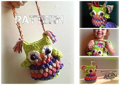 """Owl Purse Crochet PATTERN by HorizontalDesigns,  The """"Fat Amy"""" Owl Pattern! (named after character from Pitch Perfect) Doubles as 6"""" mason jar / soap cover, and fun kids  purse!"""
