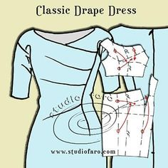 Think about cutting instructions for asymmetric designs. Pattern Puzzle - Classic Drape Dress #PatternMakingClasses