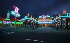 Cars Land at Disney California Adventure Park at Night (Paul Hiffmeyer, Chief Photographer for Public Relations, Disneyland Resort) DisneyParksBlog