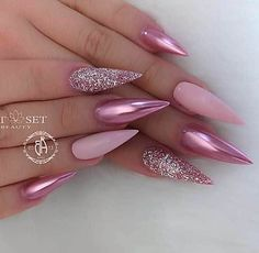 Best Ideas for blush pink nails acrylic stiletto Blush Pink Nails, Pink Stiletto Nails, Gel Nails, Matte Pink, Pink Bling Nails, Blue Glitter Nails, Sparkle Nails, Coffin Nails, Cute Acrylic Nail Designs