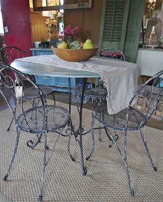 It's all about bright color these days! Rust & Feathers has some great colorful pieces of furniture and accessories to add that fu. Wrought Iron Chairs, Outdoor Tables, Outdoor Decor, Rust, Porch, Outdoor Furniture, Ministry, Feathers, Color