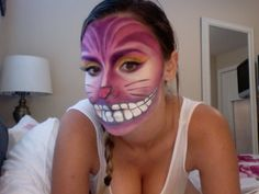 blushworthy makeup cheshire cat Cheshire Cat Makeup, Cheshire Cat Costume, Halloween Town, Halloween Make Up, Halloween Costumes, Alice In Wonderland Costume, Wonderland Party, Purple Cat, Pink Grey
