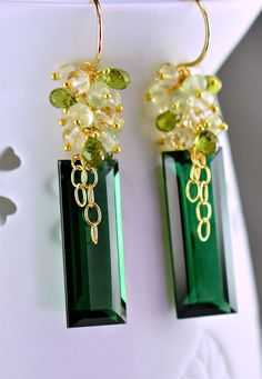 Sale-Dark Green Amethyst Earrings Scapolite Prehnite Vesuvianite 14k Gold Filled Wire wrapped Dangle Earrings. $158.00, via Etsy.