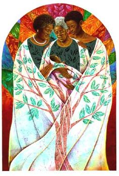 Family Tree by Keith Mallett Three generations of strong black women nurturing and protecting the fourth generation. African American Art, American Artists, African Art, Caricatures, Namaste, Arte Black, American Quilt, Black Artists, Tree Of Life