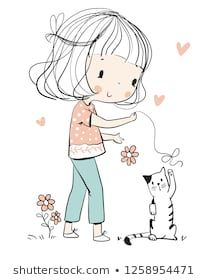 child girl playing with cat kitten Illustration Mignonne, Illustration Girl, Doodle Drawings, Cute Drawings, Doodles Bonitos, Doodle Girl, Art Mignon, Easy Coloring Pages, Painted Rocks Craft