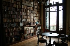 An elegant sitting and reading room with a beautiful library   It just needs some comfy chairs to curl up in! :)