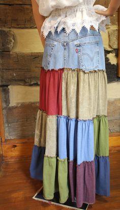 Denim Hippie Patchwork Skirt  Sweetbriers