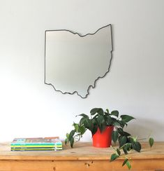 Ohio Mirror / Wall Mirror State Outline Silhouette OH Wall Art Shape