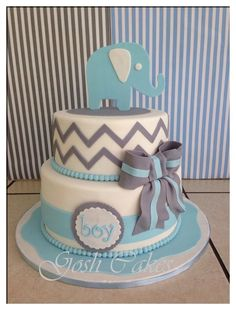 Baby Shower cake for boys. Elephant and chevron stripes