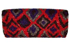 Red and Purple Beaded Clutch