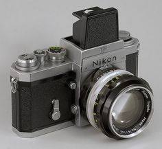 Nikon F film camera -- Waist-level finder -- NIKKOR-S  Auto  1:1.4  f=5.8cm lens