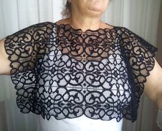 Plus Size Black Lace Shrug Shawl Bolero Weddings by mammamiaeme, $39.00