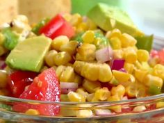 This stuff is awesome!!  Fire Roasted Corn Salsa from FoodNetwork.com